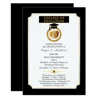 Universidad de la graduación de Apple del oro del Invitación 12,7 X 17,8 Cm