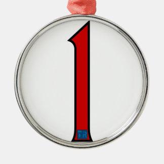Uno en rojo ornamento para arbol de navidad