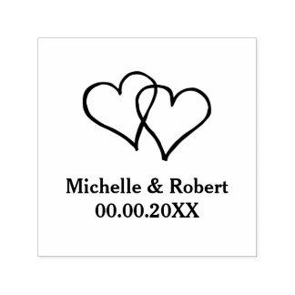 Uno mismo de los corazones del personalizado dos sello automático