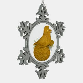 Uno mismo del amarillo de la paloma del adorno de peltre tipo copo de nieve