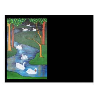 Uno-Natación de siete cisnes Postales