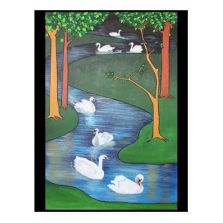 Uno-Natación de siete cisnes Tarjeta Postal