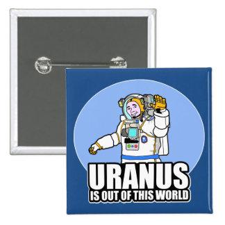 Urano está fuera de este mundo chapa cuadrada 5 cm