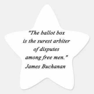 Urna - James Buchanan Pegatina En Forma De Estrella