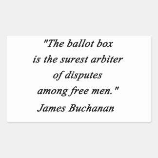 Urna - James Buchanan Pegatina Rectangular
