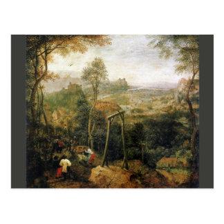 Urraca en la horca de Pieter Bruegel Tarjetas Postales