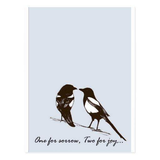 urracas - una para el dolor, dos para la alegría tarjetas postales
