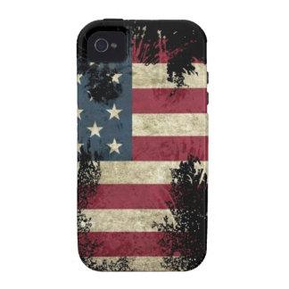 US USA bandera TRISTE en fondo negro iPhone 4 Funda