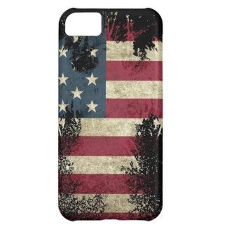 US USA bandera TRISTE en fondo negro