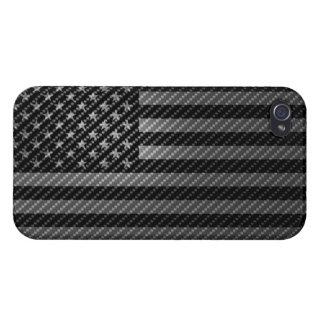 USA Flag Cover iPhone4 Carbon Fiber iPhone 4 Cárcasas