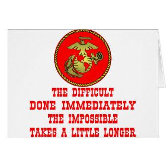 USMC el difícil hecho inmediatamente el imposible Tarjeta