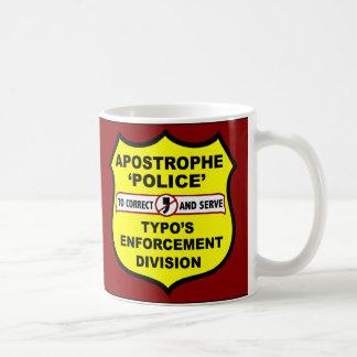 Uso erróneo del apóstrofe de la policía de la taza de café