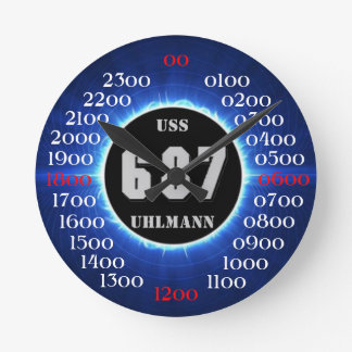 USS Uhlmann (DD-687) Reloj Redondo Mediano