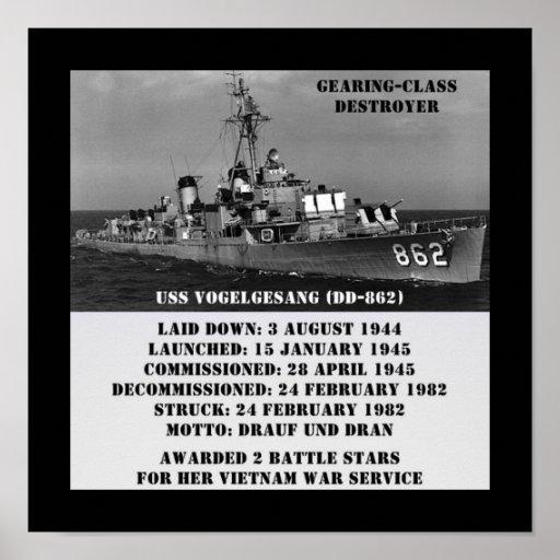 USS Vogelgesang (DD-862) Posters