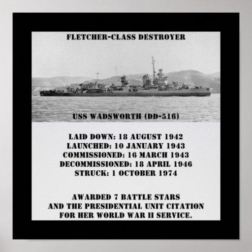 USS Wadsworth DD-516 Impresiones