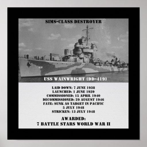 USS Wainwright (DD-419) Posters