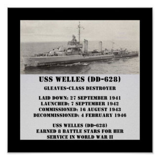 USS Welles (DD-628) Posters