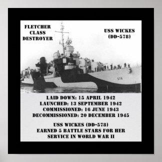 USS Wickes DD-578 Posters