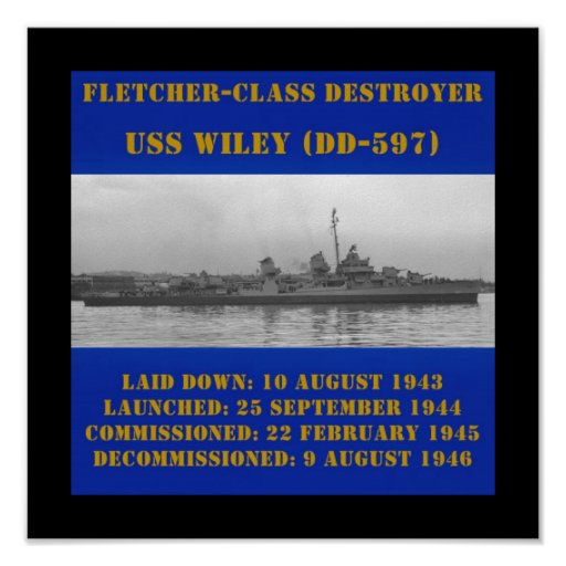 USS Wiley (DD-597) Poster