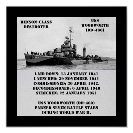 USS Woodworth (DD-460) Posters