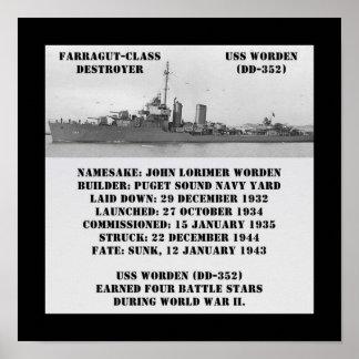 USS Worden (DD-352) Posters