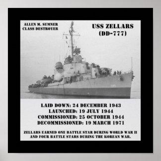USS Zellars (DD-777) Posters