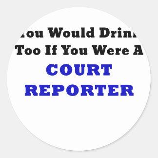 Usted bebería también si usted era reportero de pegatina redonda