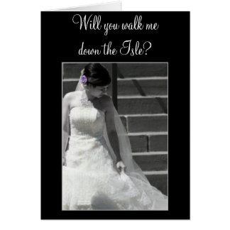 Usted caminará yo traga la tarjeta de la novia del