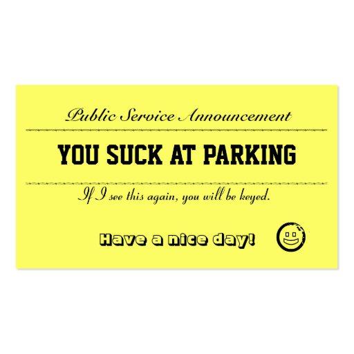 Usted chupa en las tarjetas del estacionamiento plantilla de tarjeta personal