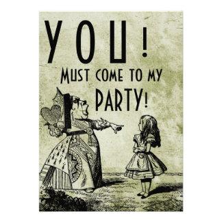 ¡USTED! ¡Debe venir a mi FIESTA! (Verde de la rein Invitaciones Personales