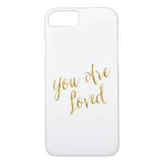 Usted es falso diseño metálico amado de la hoja de funda iPhone 7