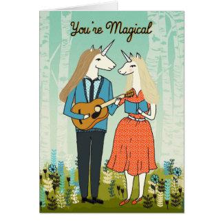 Usted es mágico - los unicornios en tarjeta del