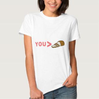 Usted es mayor que el pan cortado divertido camiseta