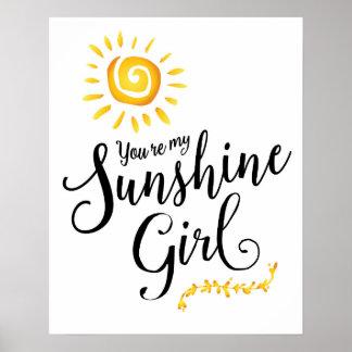 Usted es mi poster del arte del chica de la sol