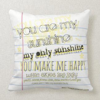 Usted es mi sol - almohada gráfica de papel del