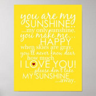 Usted es mi sol - amarillo - poster póster
