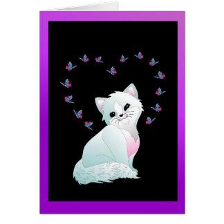 Usted es tarjeta de felicitación linda del gato