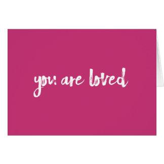 Usted es tarjeta handlettered rosa amada