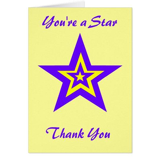 Usted es una estrella, gracias tarjeta de felicitación