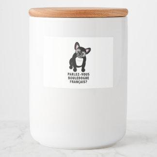 Usted habla el dogo francés lindo etiqueta para comida