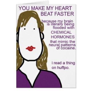 Usted hace mi golpe de corazón más rápido. Química Tarjeta De Felicitación