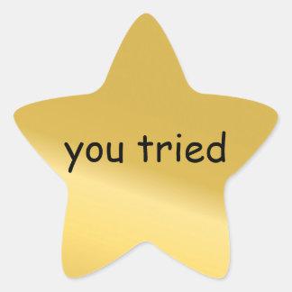 Usted intentó al pegatina de la estrella
