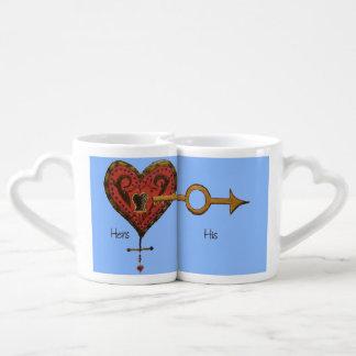 Usted lleva a cabo la llave a mi corazón set de tazas de café