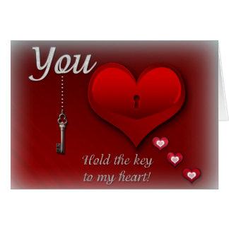 Usted lleva a cabo la llave a mi corazón tarjeta de felicitación