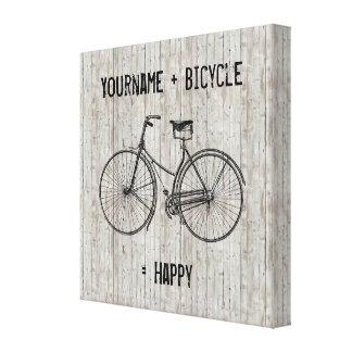 Usted más la bicicleta iguala el tablón de madera  lona envuelta para galerías