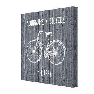 Usted más la bicicleta iguala gris de madera antig impresión en tela