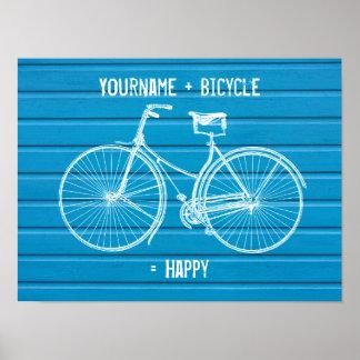 Usted más la bicicleta iguala tablones de madera a póster