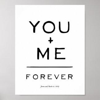 Usted más mí = para siempre ecuación blanco y póster