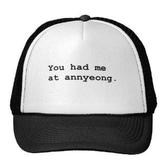 Usted me tenía en la camiseta coreana de Annyeong Gorro