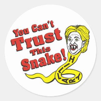 Usted no puede confiar en esta serpiente Hillary Pegatina Redonda